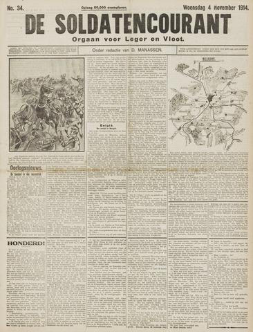 De Soldatencourant. Orgaan voor Leger en Vloot 1914-11-04