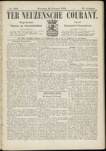 Ter Neuzensche Courant. Algemeen Nieuws- en Advertentieblad voor Zeeuwsch-Vlaanderen / Neuzensche Courant ... (idem) / (Algemeen) nieuws en advertentieblad voor Zeeuwsch-Vlaanderen 1878-02-20