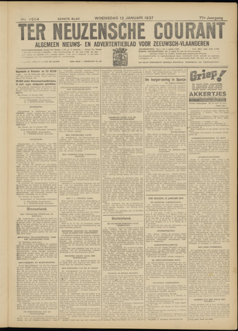 Ter Neuzensche Courant. Algemeen Nieuws- en Advertentieblad voor Zeeuwsch-Vlaanderen / Neuzensche Courant ... (idem) / (Algemeen) nieuws en advertentieblad voor Zeeuwsch-Vlaanderen 1937-01-13
