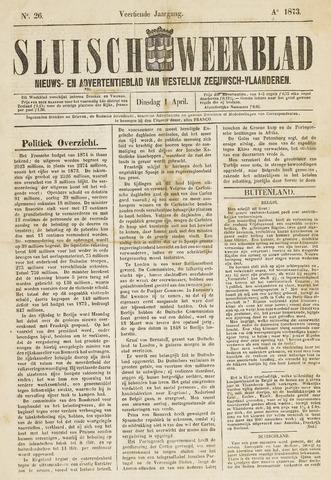 Sluisch Weekblad. Nieuws- en advertentieblad voor Westelijk Zeeuwsch-Vlaanderen 1873-04-01