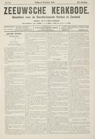 Zeeuwsche kerkbode, weekblad gewijd aan de belangen der gereformeerde kerken/ Zeeuwsch kerkblad 1929-11-22