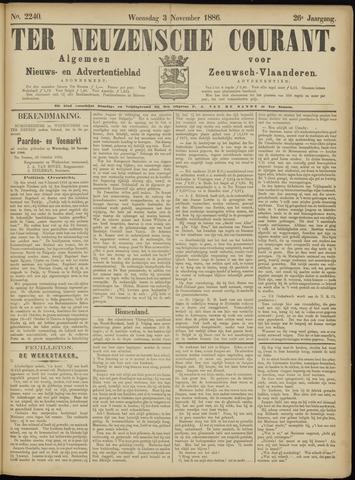 Ter Neuzensche Courant. Algemeen Nieuws- en Advertentieblad voor Zeeuwsch-Vlaanderen / Neuzensche Courant ... (idem) / (Algemeen) nieuws en advertentieblad voor Zeeuwsch-Vlaanderen 1886-11-03