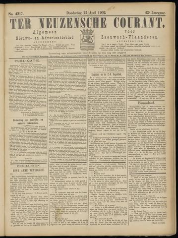 Ter Neuzensche Courant. Algemeen Nieuws- en Advertentieblad voor Zeeuwsch-Vlaanderen / Neuzensche Courant ... (idem) / (Algemeen) nieuws en advertentieblad voor Zeeuwsch-Vlaanderen 1902-04-24