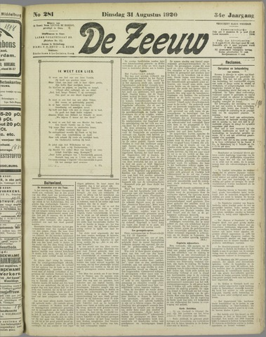 De Zeeuw. Christelijk-historisch nieuwsblad voor Zeeland 1920-08-31
