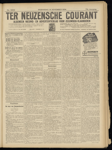 Ter Neuzensche Courant. Algemeen Nieuws- en Advertentieblad voor Zeeuwsch-Vlaanderen / Neuzensche Courant ... (idem) / (Algemeen) nieuws en advertentieblad voor Zeeuwsch-Vlaanderen 1934-11-14