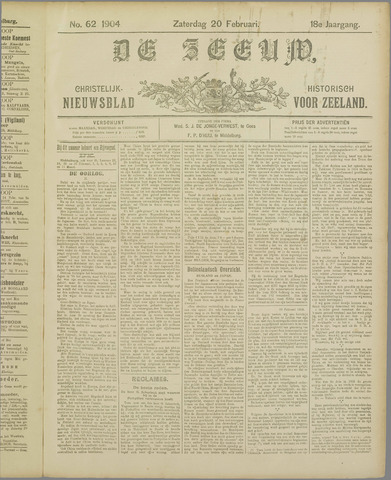 De Zeeuw. Christelijk-historisch nieuwsblad voor Zeeland 1904-02-20