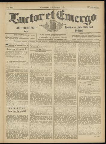 Luctor et Emergo. Antirevolutionair nieuws- en advertentieblad voor Zeeland / Zeeuwsch-Vlaanderen. Orgaan ter verspreiding van de christelijke beginselen in Zeeuwsch-Vlaanderen 1913-02-12