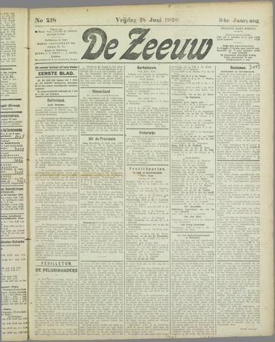 De Zeeuw. Christelijk-historisch nieuwsblad voor Zeeland 1920-06-18