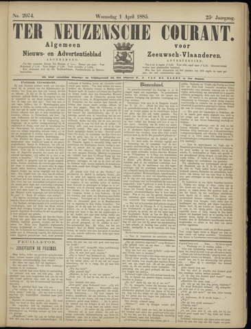 Ter Neuzensche Courant. Algemeen Nieuws- en Advertentieblad voor Zeeuwsch-Vlaanderen / Neuzensche Courant ... (idem) / (Algemeen) nieuws en advertentieblad voor Zeeuwsch-Vlaanderen 1885-04-01