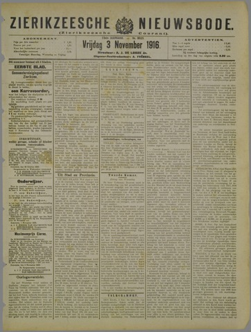 Zierikzeesche Nieuwsbode 1916-11-03