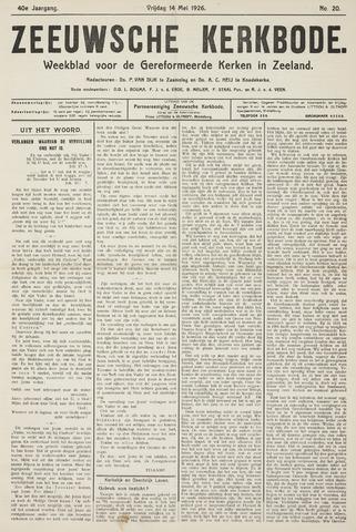 Zeeuwsche kerkbode, weekblad gewijd aan de belangen der gereformeerde kerken/ Zeeuwsch kerkblad 1926-05-14