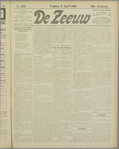 De Zeeuw. Christelijk-historisch nieuwsblad voor Zeeland 1915-04-02
