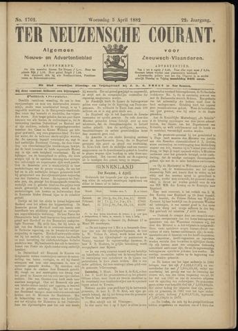Ter Neuzensche Courant. Algemeen Nieuws- en Advertentieblad voor Zeeuwsch-Vlaanderen / Neuzensche Courant ... (idem) / (Algemeen) nieuws en advertentieblad voor Zeeuwsch-Vlaanderen 1882-04-05