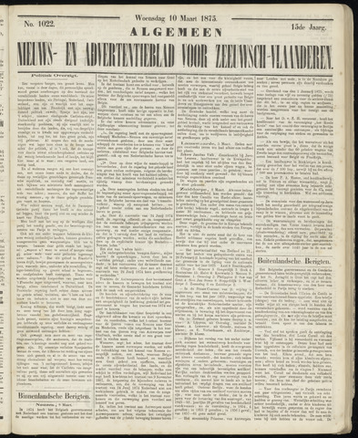 Ter Neuzensche Courant. Algemeen Nieuws- en Advertentieblad voor Zeeuwsch-Vlaanderen / Neuzensche Courant ... (idem) / (Algemeen) nieuws en advertentieblad voor Zeeuwsch-Vlaanderen 1875-03-10