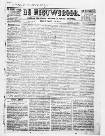 Sheboygan Nieuwsbode 1858