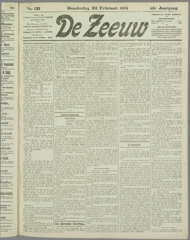 De Zeeuw. Christelijk-historisch nieuwsblad voor Zeeland 1917-02-22