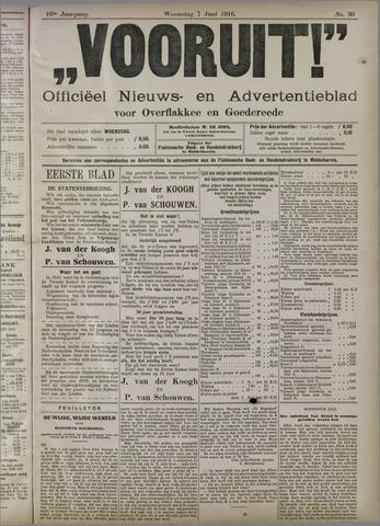 """""""Vooruit!""""Officieel Nieuws- en Advertentieblad voor Overflakkee en Goedereede 1916-06-07"""