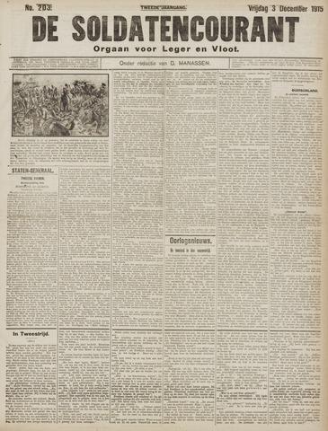 De Soldatencourant. Orgaan voor Leger en Vloot 1915-12-03