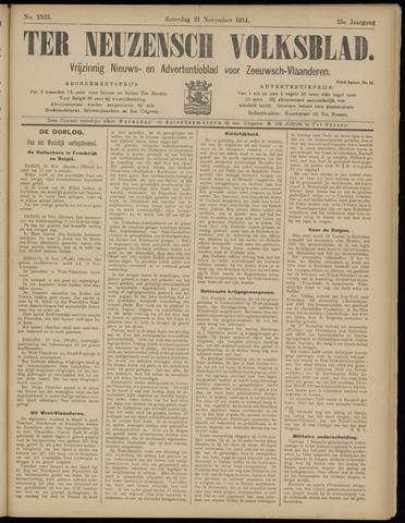 Ter Neuzensch Volksblad. Vrijzinnig nieuws- en advertentieblad voor Zeeuwsch- Vlaanderen / Zeeuwsch Nieuwsblad. Nieuws- en advertentieblad voor Zeeland 1914-11-21