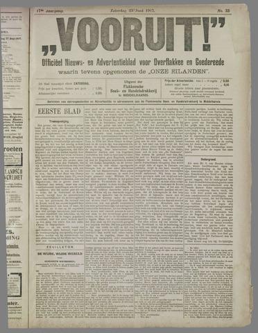 """""""Vooruit!""""Officieel Nieuws- en Advertentieblad voor Overflakkee en Goedereede 1917-06-23"""