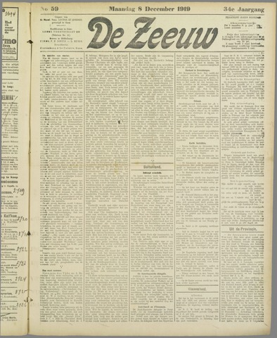 De Zeeuw. Christelijk-historisch nieuwsblad voor Zeeland 1919-12-08