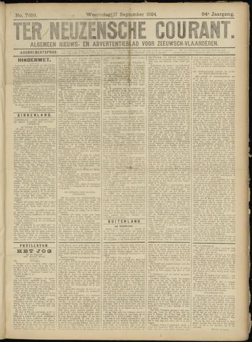 Ter Neuzensche Courant. Algemeen Nieuws- en Advertentieblad voor Zeeuwsch-Vlaanderen / Neuzensche Courant ... (idem) / (Algemeen) nieuws en advertentieblad voor Zeeuwsch-Vlaanderen 1924-09-17