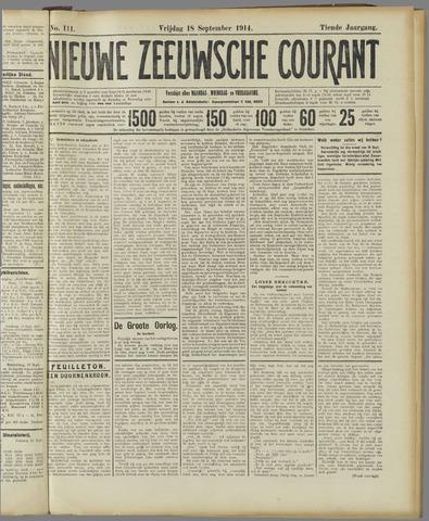 Nieuwe Zeeuwsche Courant 1914-09-18
