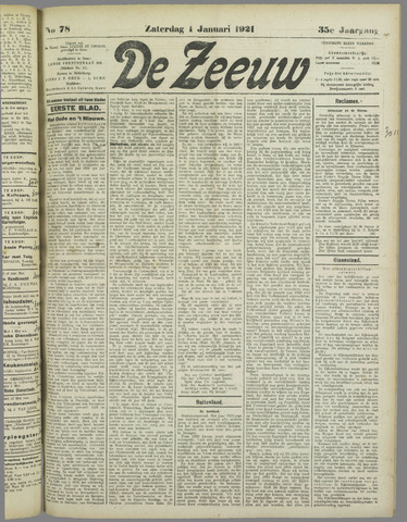 De Zeeuw. Christelijk-historisch nieuwsblad voor Zeeland 1921-01-01