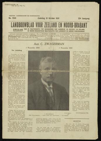 Zeeuwsch landbouwblad ... ZLM land- en tuinbouwblad 1931-10-31
