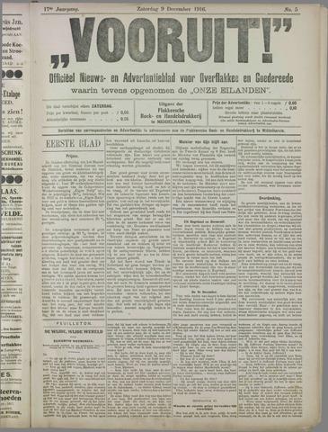 """""""Vooruit!""""Officieel Nieuws- en Advertentieblad voor Overflakkee en Goedereede 1916-12-09"""