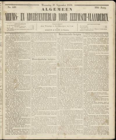 Ter Neuzensche Courant. Algemeen Nieuws- en Advertentieblad voor Zeeuwsch-Vlaanderen / Neuzensche Courant ... (idem) / (Algemeen) nieuws en advertentieblad voor Zeeuwsch-Vlaanderen 1870-09-28