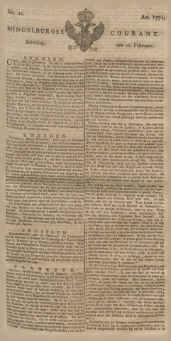 Middelburgsche Courant 1771-02-16