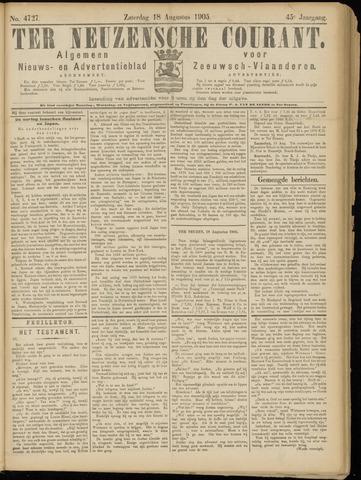 Ter Neuzensche Courant. Algemeen Nieuws- en Advertentieblad voor Zeeuwsch-Vlaanderen / Neuzensche Courant ... (idem) / (Algemeen) nieuws en advertentieblad voor Zeeuwsch-Vlaanderen 1905-08-19
