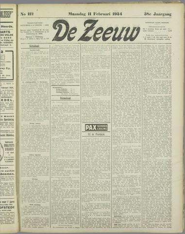 De Zeeuw. Christelijk-historisch nieuwsblad voor Zeeland 1924-02-11