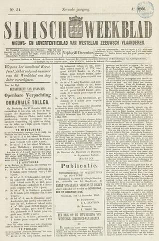 Sluisch Weekblad. Nieuws- en advertentieblad voor Westelijk Zeeuwsch-Vlaanderen 1866-12-21
