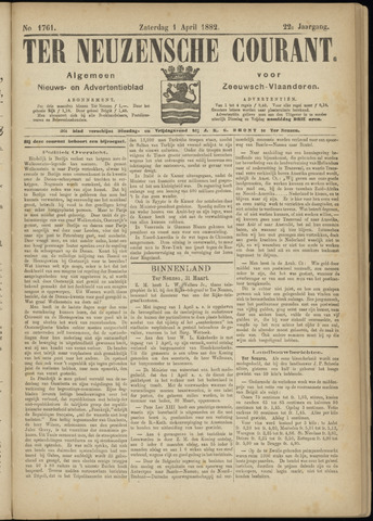 Ter Neuzensche Courant. Algemeen Nieuws- en Advertentieblad voor Zeeuwsch-Vlaanderen / Neuzensche Courant ... (idem) / (Algemeen) nieuws en advertentieblad voor Zeeuwsch-Vlaanderen 1882-04-01