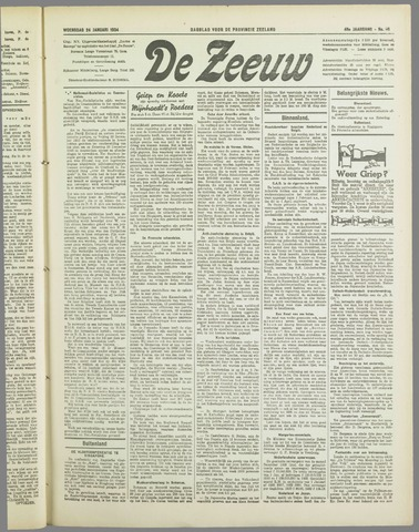 De Zeeuw. Christelijk-historisch nieuwsblad voor Zeeland 1934-01-24