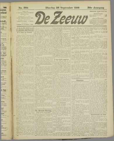 De Zeeuw. Christelijk-historisch nieuwsblad voor Zeeland 1916-09-26