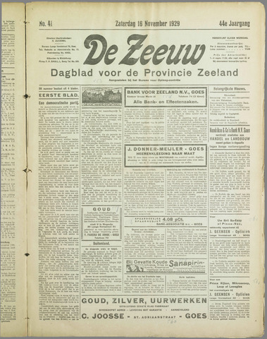 De Zeeuw. Christelijk-historisch nieuwsblad voor Zeeland 1929-11-16
