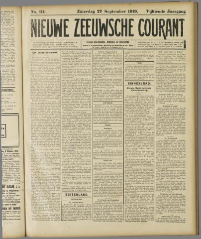Nieuwe Zeeuwsche Courant 1919-09-27