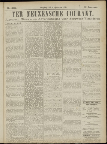 Ter Neuzensche Courant. Algemeen Nieuws- en Advertentieblad voor Zeeuwsch-Vlaanderen / Neuzensche Courant ... (idem) / (Algemeen) nieuws en advertentieblad voor Zeeuwsch-Vlaanderen 1919-08-22