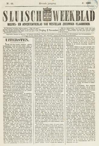 Sluisch Weekblad. Nieuws- en advertentieblad voor Westelijk Zeeuwsch-Vlaanderen 1866-11-02
