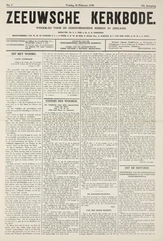 Zeeuwsche kerkbode, weekblad gewijd aan de belangen der gereformeerde kerken/ Zeeuwsch kerkblad 1938-02-18