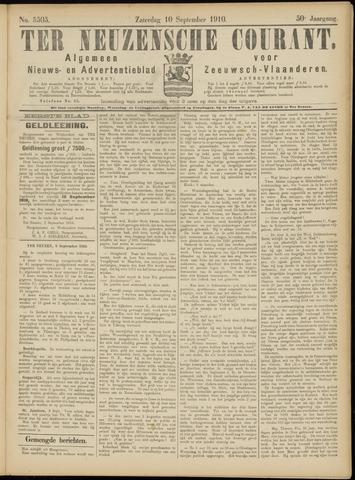 Ter Neuzensche Courant. Algemeen Nieuws- en Advertentieblad voor Zeeuwsch-Vlaanderen / Neuzensche Courant ... (idem) / (Algemeen) nieuws en advertentieblad voor Zeeuwsch-Vlaanderen 1910-09-10