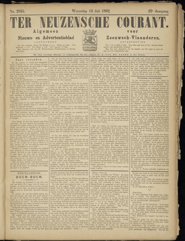 Ter Neuzensche Courant. Algemeen Nieuws- en Advertentieblad voor Zeeuwsch-Vlaanderen / Neuzensche Courant ... (idem) / (Algemeen) nieuws en advertentieblad voor Zeeuwsch-Vlaanderen 1892-07-13