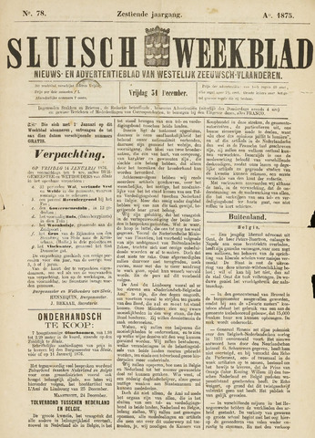 Sluisch Weekblad. Nieuws- en advertentieblad voor Westelijk Zeeuwsch-Vlaanderen 1875-12-31