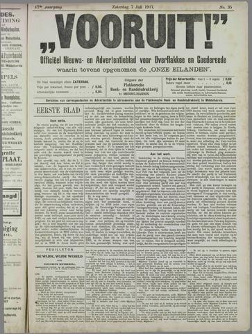 """""""Vooruit!""""Officieel Nieuws- en Advertentieblad voor Overflakkee en Goedereede 1917-07-07"""