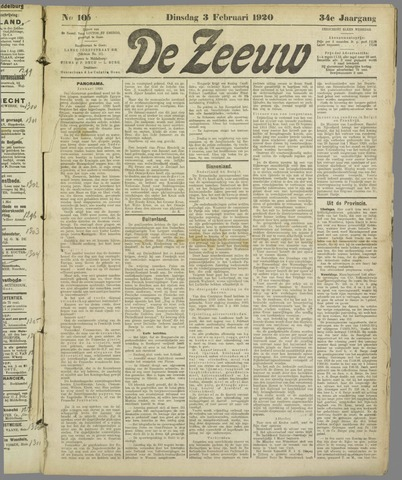 De Zeeuw. Christelijk-historisch nieuwsblad voor Zeeland 1920-02-03