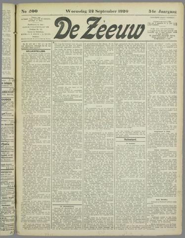 De Zeeuw. Christelijk-historisch nieuwsblad voor Zeeland 1920-09-22