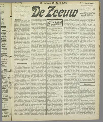 De Zeeuw. Christelijk-historisch nieuwsblad voor Zeeland 1920-04-28